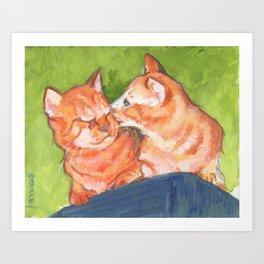 Kitty Kisses Art Print