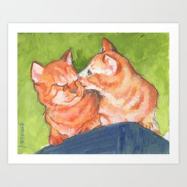 Kitty Kisses Art Print