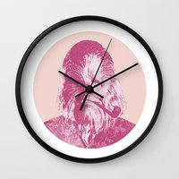 chewbacca Wall Clocks featuring Chewbacca by NJ-Illustrations