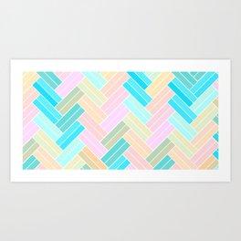 Ombre Pastel Herringbone pattern Art Print