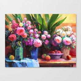Roses and Aspidistra Plant Canvas Print