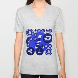 Cryptocurrency blue pattern Unisex V-Neck