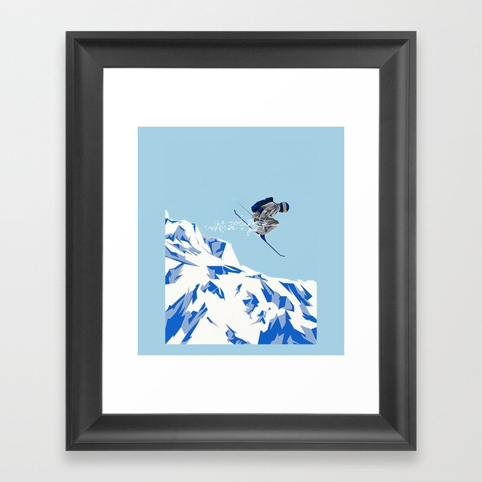 Airborn Skier Flying Down the Ski Slopes Gerahmter Kunstdruck