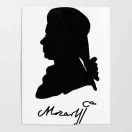 Wolfgang Amadeus Mozart (1756 -1791) silhouette, engraved by Hieronymous Löschenkohl, 1785 Poster