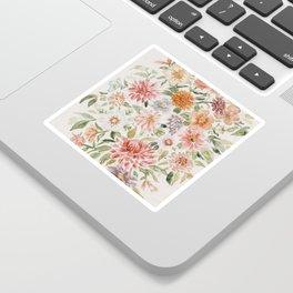 Loose Peachy Dahlia Watercolor Bouquet Sticker