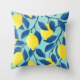 Vintage yellow lemon tree hand drawn illustration Throw Pillow