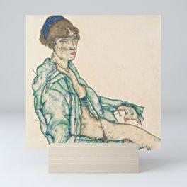 "Egon Schiele ""Sitting Semi-Nude with Blue Hairband"" Mini Art Print"