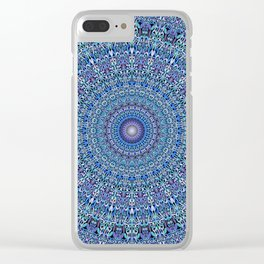 Blue Circle Garden Mandala Clear iPhone Case