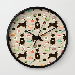 shiba inu sushi black and tan dog breed pet pattern dog mom Wall Clock