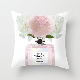Pink perfume floral Throw Pillow