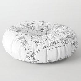 Snowboard Winter Snowboarding Vintage Patent Drawing Print Floor Pillow