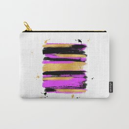 Black Pink And Gold Abstract Paint Lines Carry-All Pouch