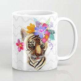 Tiger Cub with Flowers Coffee Mug