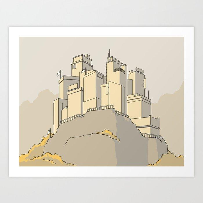 A city on a cliff Art Print