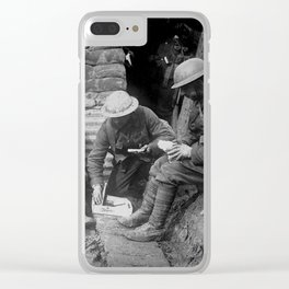 Soldiers Resting in Trench WWI Clear iPhone Case