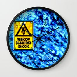 Abstract electric shock risk sign Wall Clock