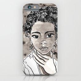 Something Like Frida Female Portrait Black and White Illustration Watercolor Ink iPhone Case