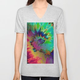 Inhale: A pretty minimal piece with bits of pinks, blues, greens, and yellows to your hearts content Unisex V-Neck