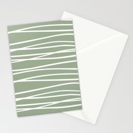 Abstract Stripes Pattern, Sage Green and White, Boho Wall Art Stationery Cards
