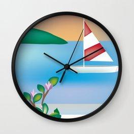 St. Croix, Virgin Islands- Skyline Illustration by Loose Petal Wall Clock
