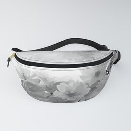 CHERRY BLOSSOMS GRAY AND WHITE Fanny Pack