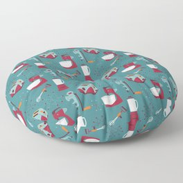 Retro Kitchen - Teal and Raspberry Floor Pillow