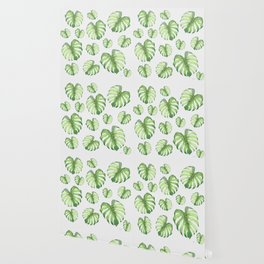 Watercolor monstera pattern Wallpaper