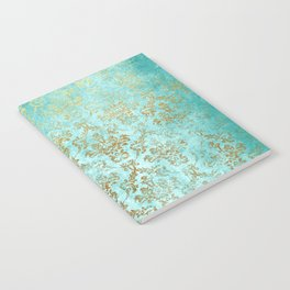 Mermaid Gold Aqua Seafoam Damask Notebook