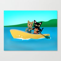 rowing Canvas Prints featuring Rowing by BATKEI