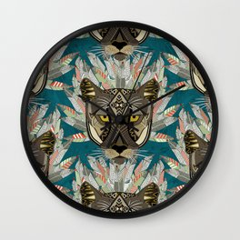 native mountain lion blue Wall Clock