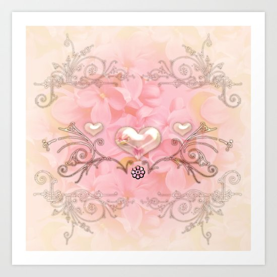 Wonderful hearts with flowers Art Print