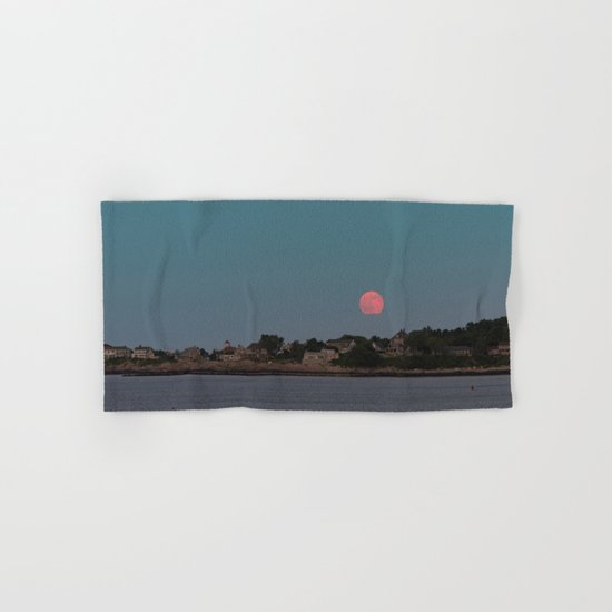 Full Strawberry Moon Rising over Rockport Hand & Bath Towel