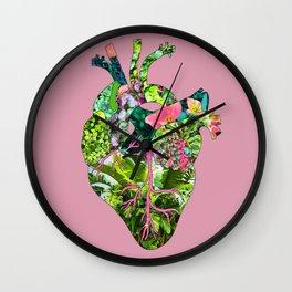 Botanical Heart Pink Wall Clock