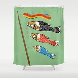 Matcha Koi Kites Shower Curtain