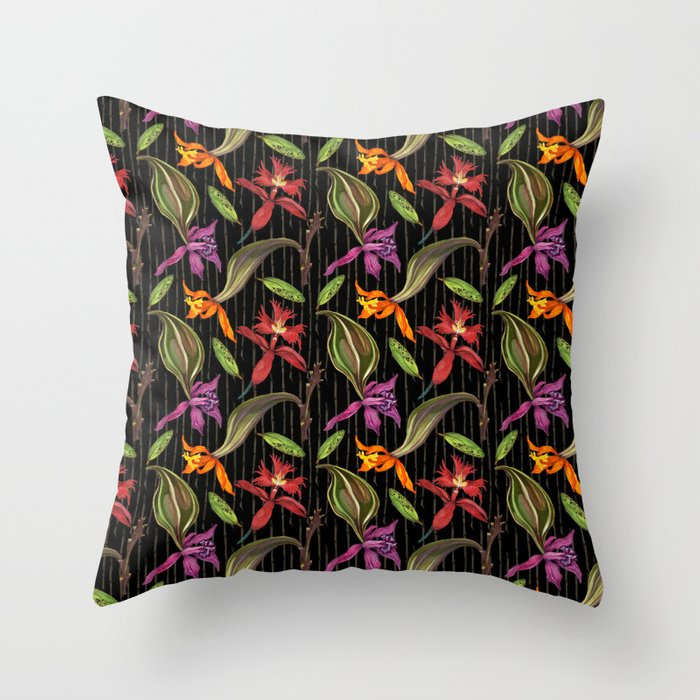 Orchids & Ink (Black Background) Throw Pillow
