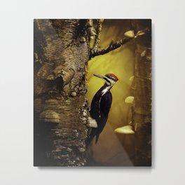 Pileated Woodpecker Forest Sunrise Metal Print