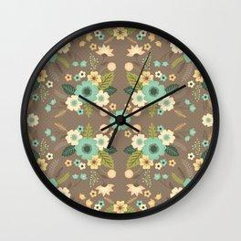 Dove Gray Flowers Wall Clock