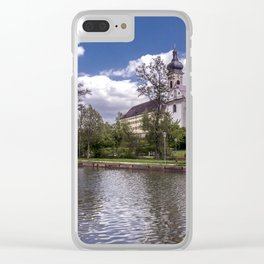 DE - Baden-Wurttemberg : Groggensee with view to St. Blasius Ehingen Clear iPhone Case