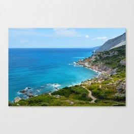 Rocky coast beach in Skiathos Greece Canvas Print