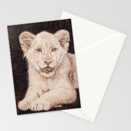 Lion Cub Portrait - Drawing by Burning on Wood - Pyrography art Stationery Cards