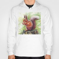 squirrel Hoodies featuring Squirrel by Olechka