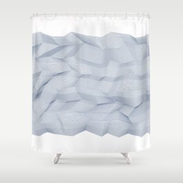 Facets - White and dark blue Shower Curtain