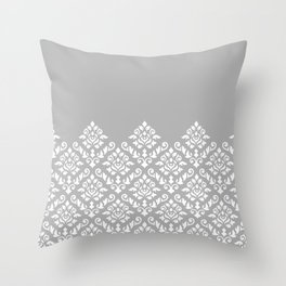 Damask Baroque Part Pattern White on Grey Throw Pillow