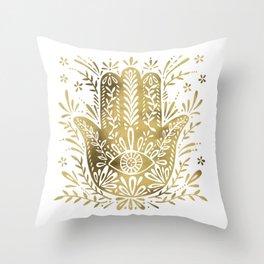 Hamsa Hand – Gold Palette Throw Pillow