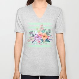 Watercolor Boho floral, tropical leaves, stripes hand paint Unisex V-Neck