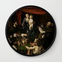 Madonna of the Rosary - Caravaggio Wall Clock