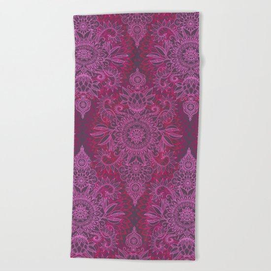 Magenta, Pink & Coral Protea Doodle Pattern Beach Towel