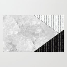 Valencia 1  Abstract black and white geometric pattern. Rug