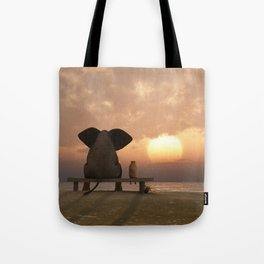 Elephant and Dog Friends Tote Bag