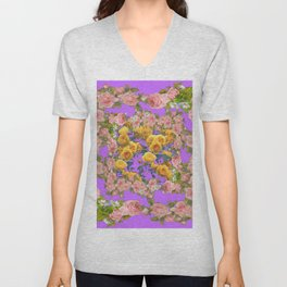 PINK & YELLOW SPRING ROSE GARDEN LILAC PURPLE VIGNETTE Unisex V-Neck